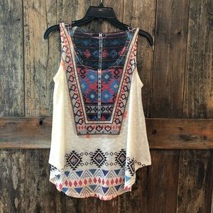 Gaze, M, Beige Aztec DESiGN Tank Top